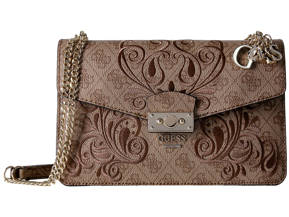 GUESS - Arianna Convertible Crossbody Flap (Brown) Cross Body Handbags