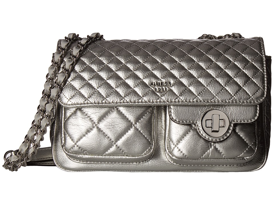 GUESS - Wilson Convertible Crossbody Flap (Silver) Cross Body Handbags