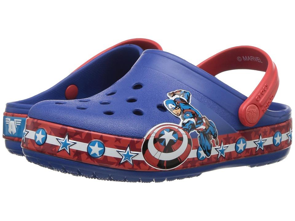 Crocs Kids Crocband Fun Lab Captain America Clog (Toddler/Little Kid) (Blue Jean) Boys Shoes