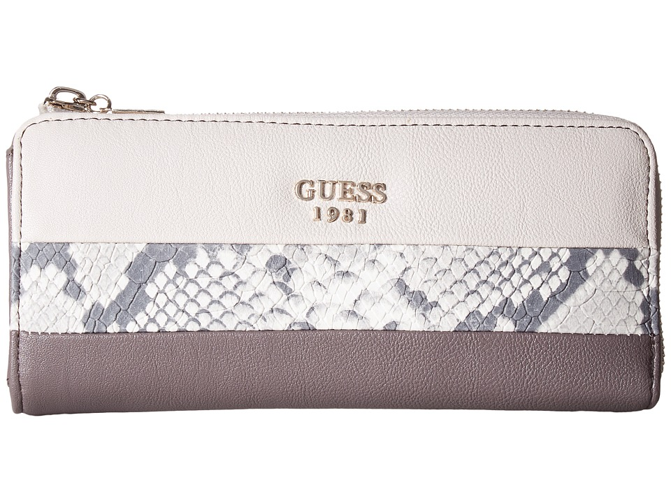 GUESS - Cate Slim Zip Wallet (Taupe Multi) Wallet Handbags