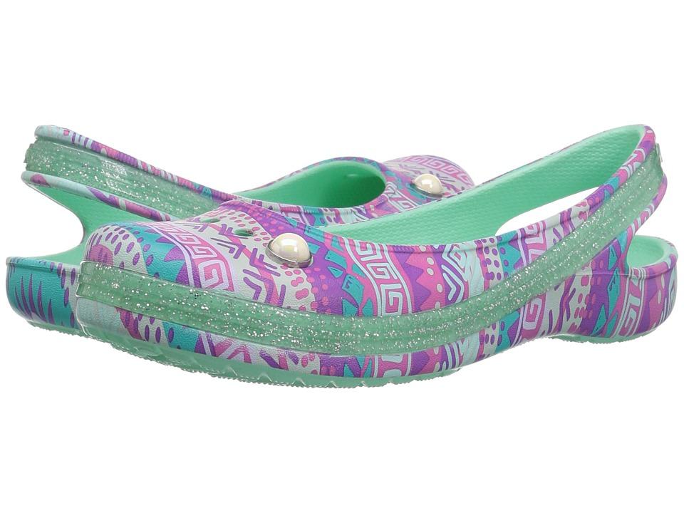 Crocs Kids Genna II Graphic Sparkle Sling (Toddler/Little Kid/Big Kid) (Mint) Girls Shoes
