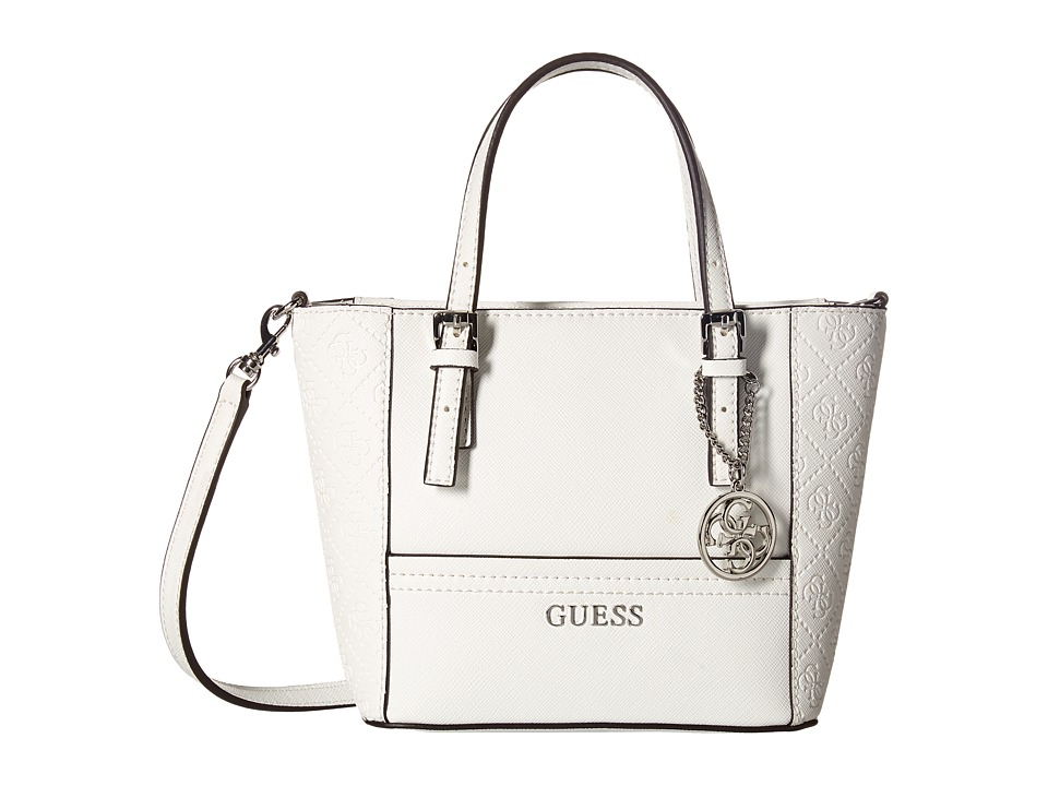 GUESS - Delaney Petite Tote (White) Tote Handbags