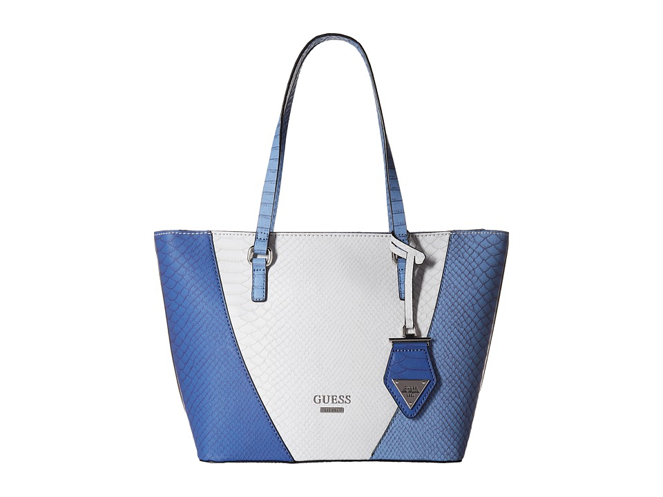 GUESS - Bell Fox Tote (Blue Multi) Tote Handbags