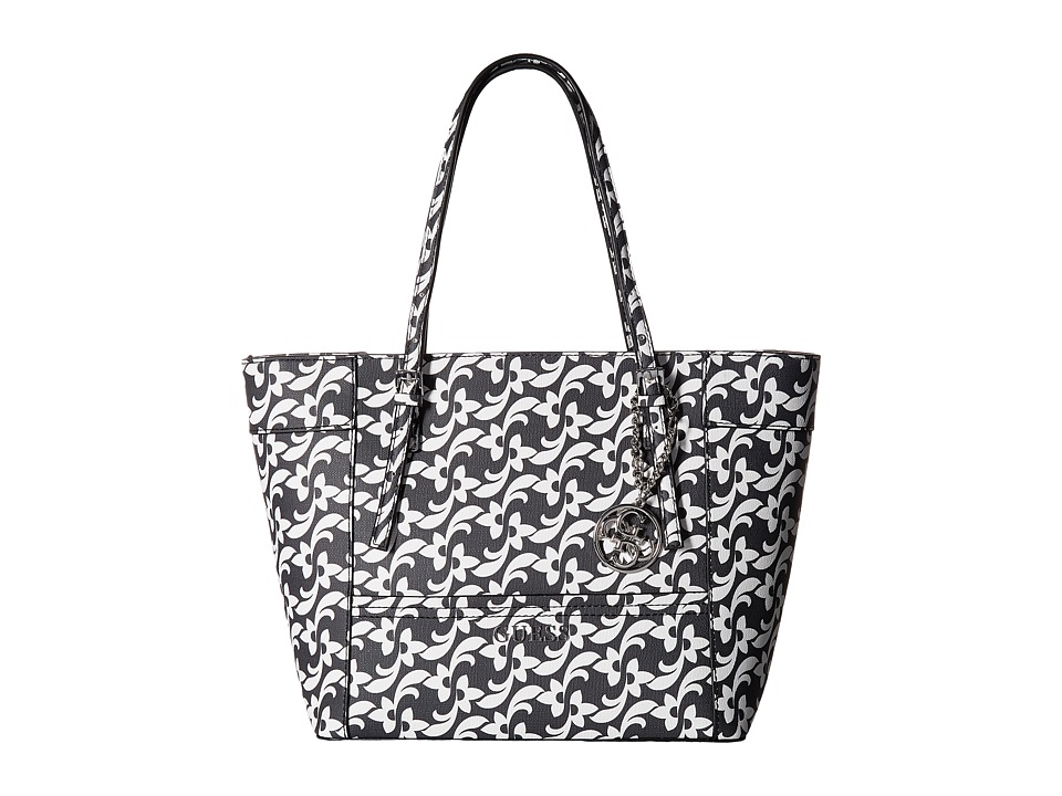 GUESS - Delaney Small Classic Tote (Black Floral) Tote Handbags