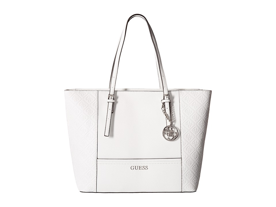 GUESS - Delaney Medium Classic Tote (White) Tote Handbags