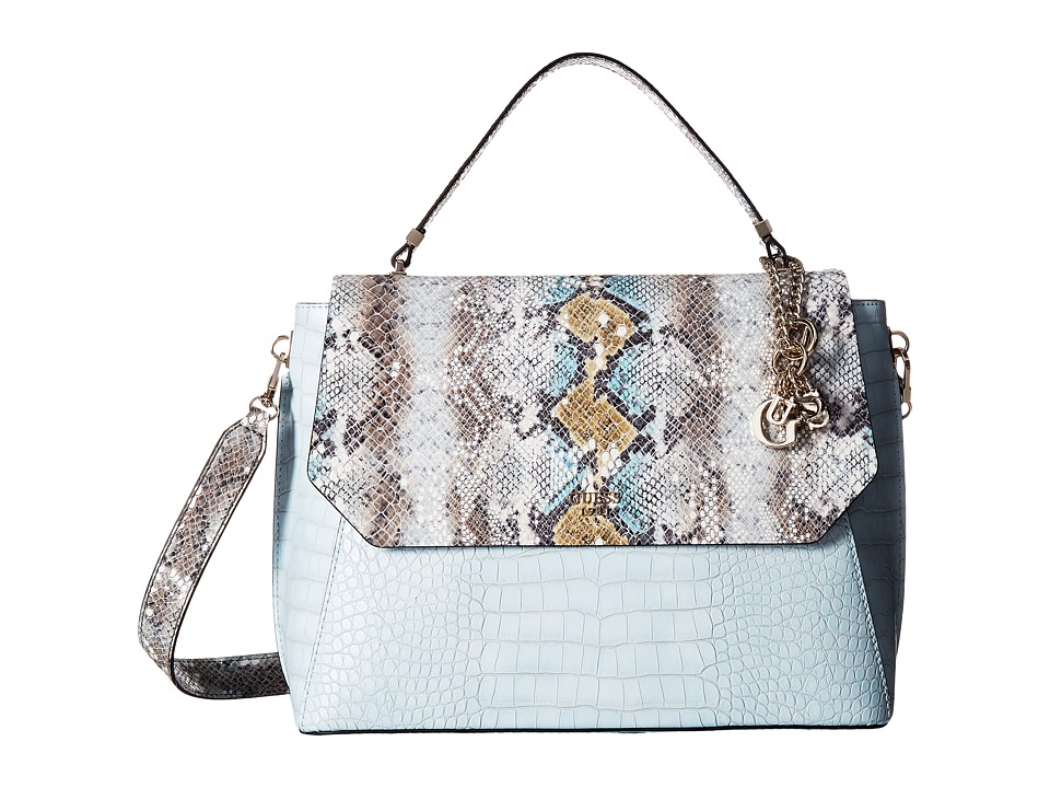 GUESS - Trylee Top-Handle Flap (Sky Multi) Top-handle Handbags