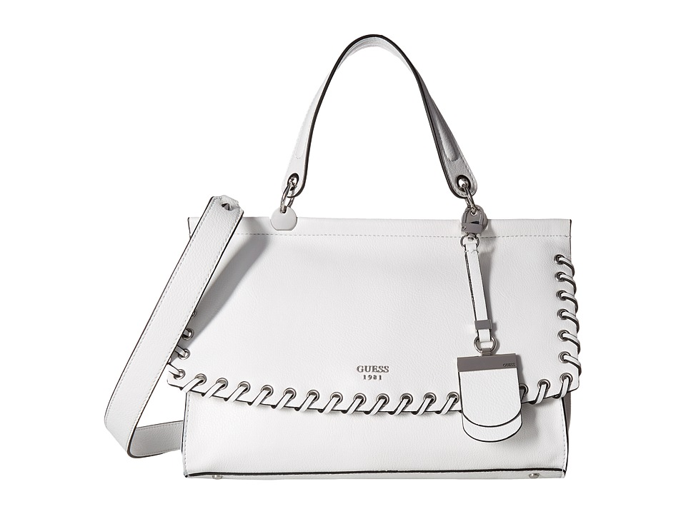 GUESS - Andie Top-Handle Flap (White) Top-handle Handbags