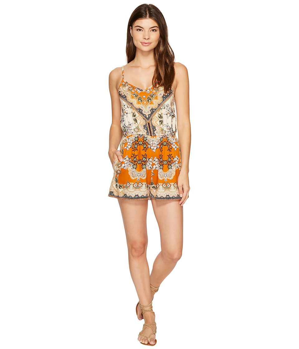Angie - Strappy Print Romper (Spice) Women's Jumpsuit & Rompers One Piece