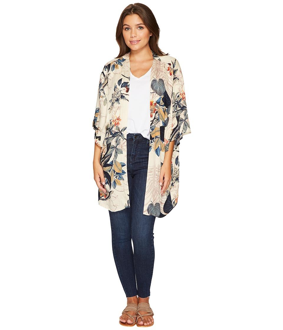 Angie - Hawaiian Print Kimono (Tan) Women's Clothing
