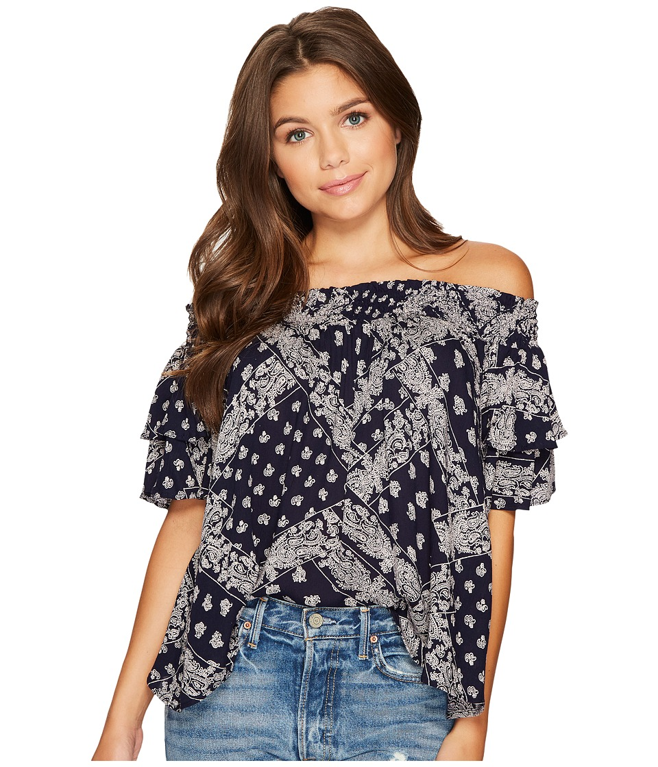 Angie - Off Shoulder Babydoll Top (Navy) Women's Clothing