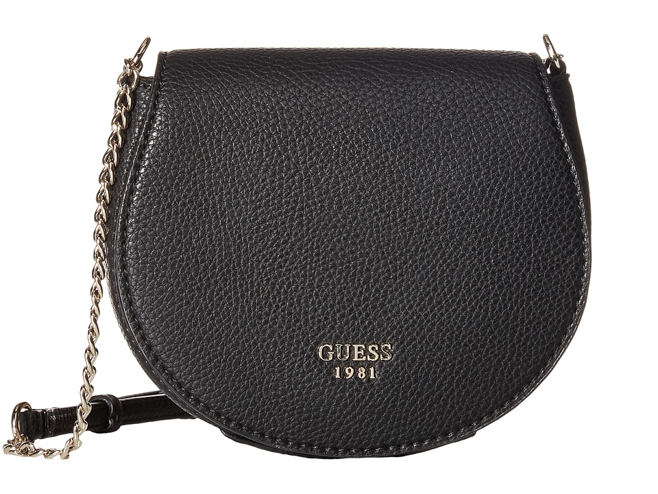 GUESS - Cate Petite Saddle Bag (Black) Handbags