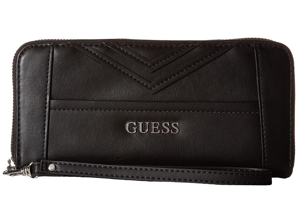 GUESS - Delaney Large Zip Around (Black) Handbags