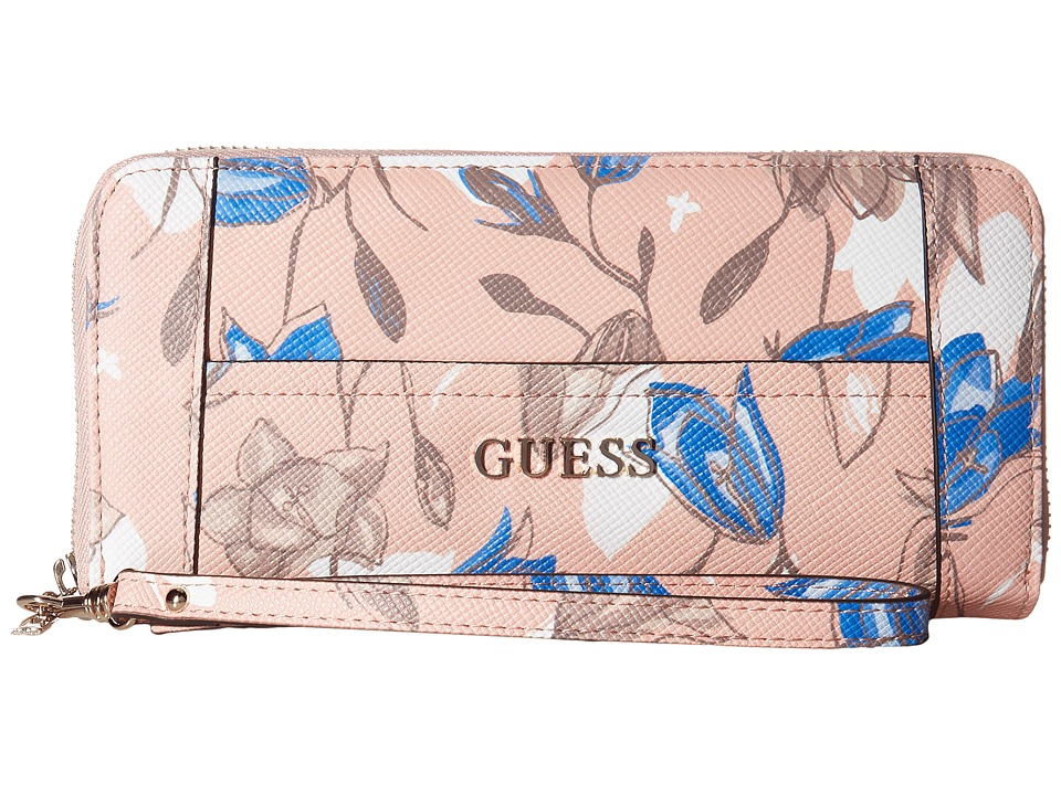 GUESS - Delaney Large Zip Around (Floral Multi) Handbags