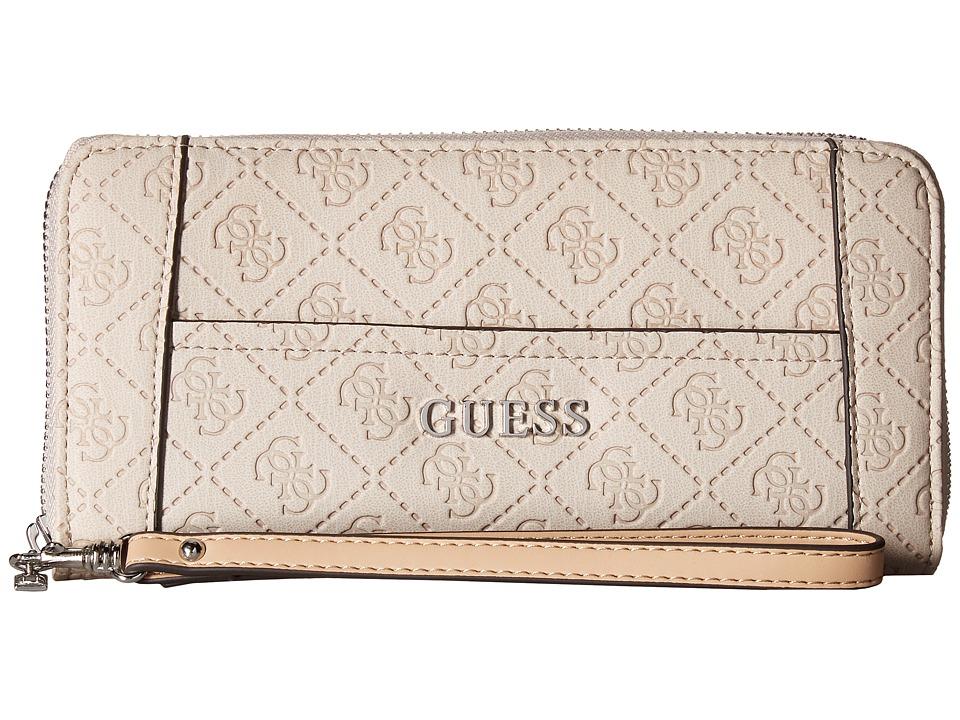 GUESS - Delaney Large Zip Around (Nude) Handbags