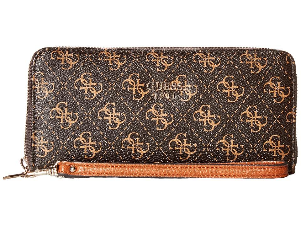 GUESS - Cate Large Zip Around (Brown) Handbags