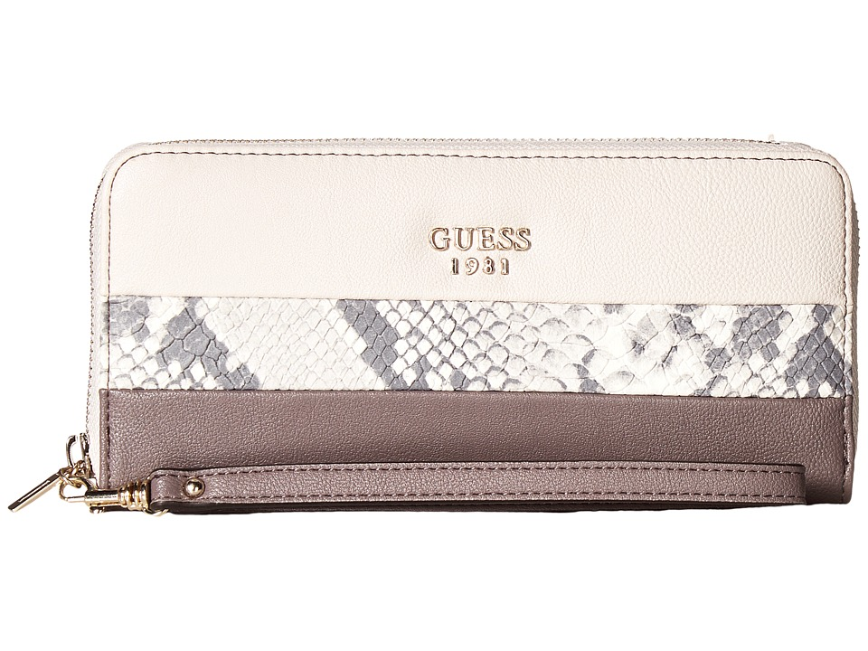 GUESS - Cate Large Zip Around (Taupe Multi) Handbags