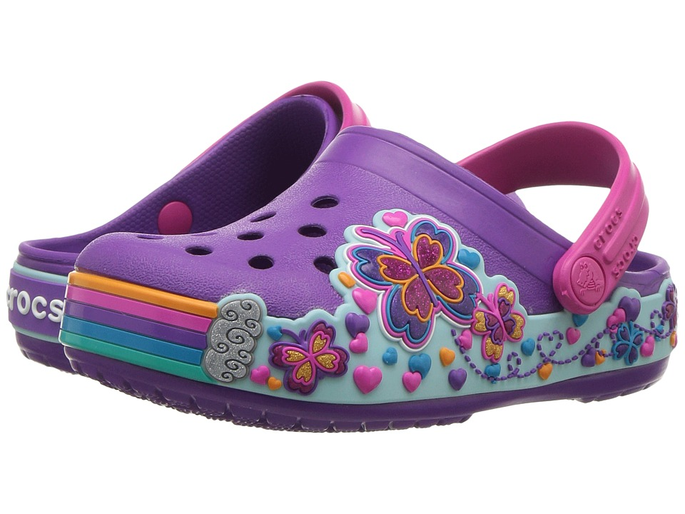 7a04aa64c849 Crocs Kids - Crocband Fun Lab Graphic Clog (Toddler Little Kid) (Amethyst)  Kids Shoes