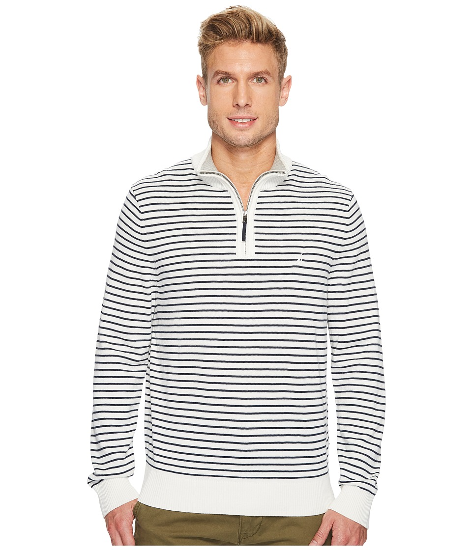 Nautica - 12 Gauge Striped 1/4 Zip (Marshmallow) Men's Sweater