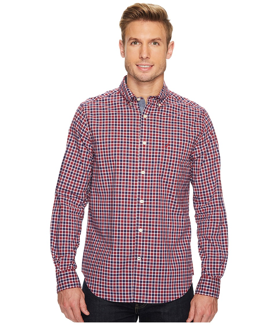 Nautica - Long Sleeve New Plaid (Biking Red) Men's T Shirt