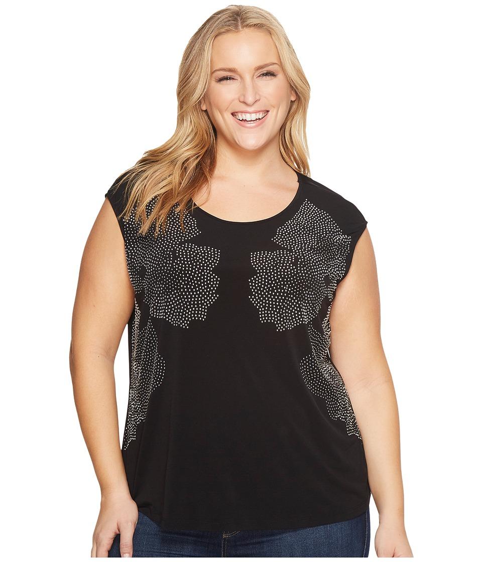 Calvin Klein Plus Plus Size Sleeveless Floral Stud Top (Black) Women