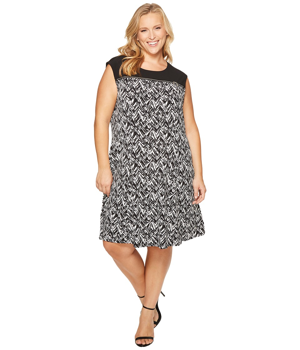 Calvin Klein Plus - Plus Size Sleeveless Print Dress with Zipper Yoke (Black/White Herringbone) Women's Dress