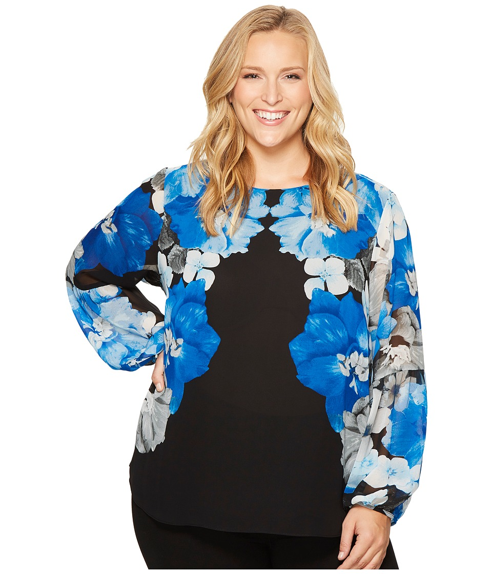 Calvin Klein Plus - Plus Size Printed Peasant Sleeve Blouse (Black/Celestial Multi) Women's Blouse