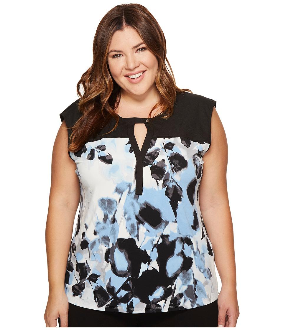 Calvin Klein Plus - Plus Size Sleeveless Printed Top with Solid Yoke (Silver Lake Combo) Women's Sleeveless