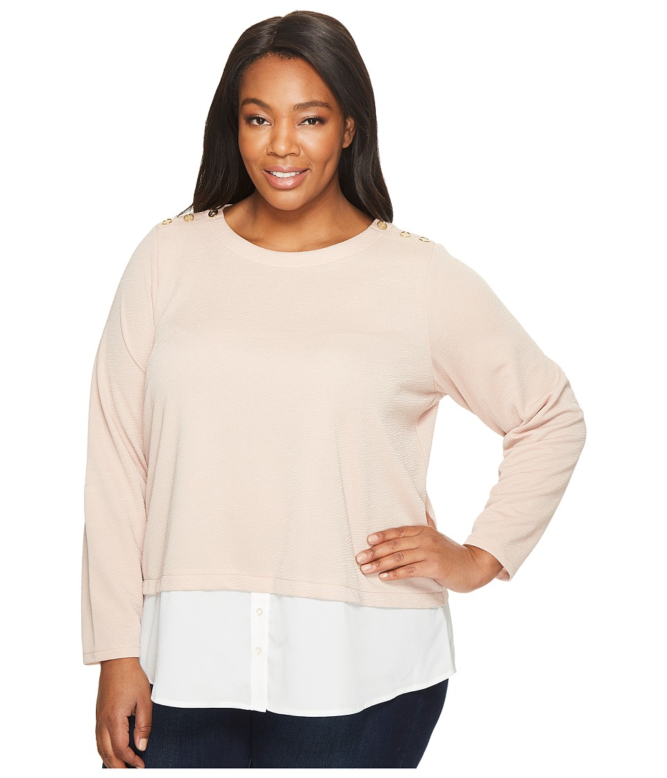 Calvin Klein Plus Plus Size Textured Twofer Top with Buttons (Blush) Women