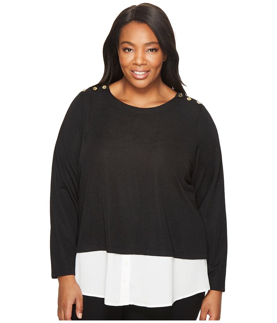 Calvin Klein Plus Plus Size Textured Twofer Top with Buttons (Black) Women
