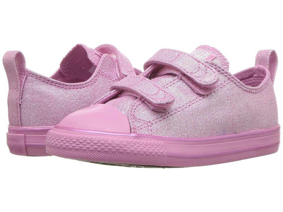 Converse Kids Chuck Taylor All Star 2V Mono Shine Ox (Infant/Toddler) (Light Orchid/Light Orchid/Silver) Girls Shoes