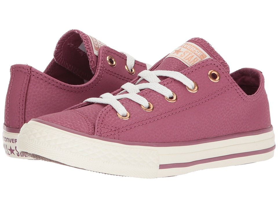 Converse Kids Chuck Taylor All Star Fashion Leather Ox (Little Kid/Big Kid) (Vintage Wine/Egret/Rose Gold) Girls Shoes