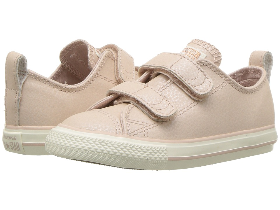 Converse Kids Chuck Taylor All Star Fashion Leather 2V Ox (Infant/Toddler) (Particle Beige/Egret/Rose Gold) Girls Shoes
