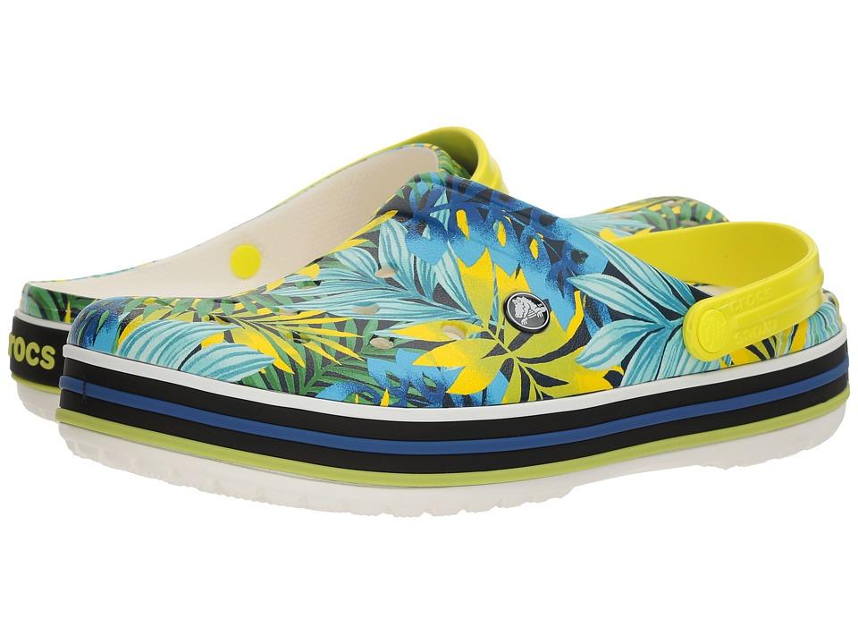 Crocs Crocband Tropical Graphic V Clog (White/Tennis Ball Green 1) Clog Shoes