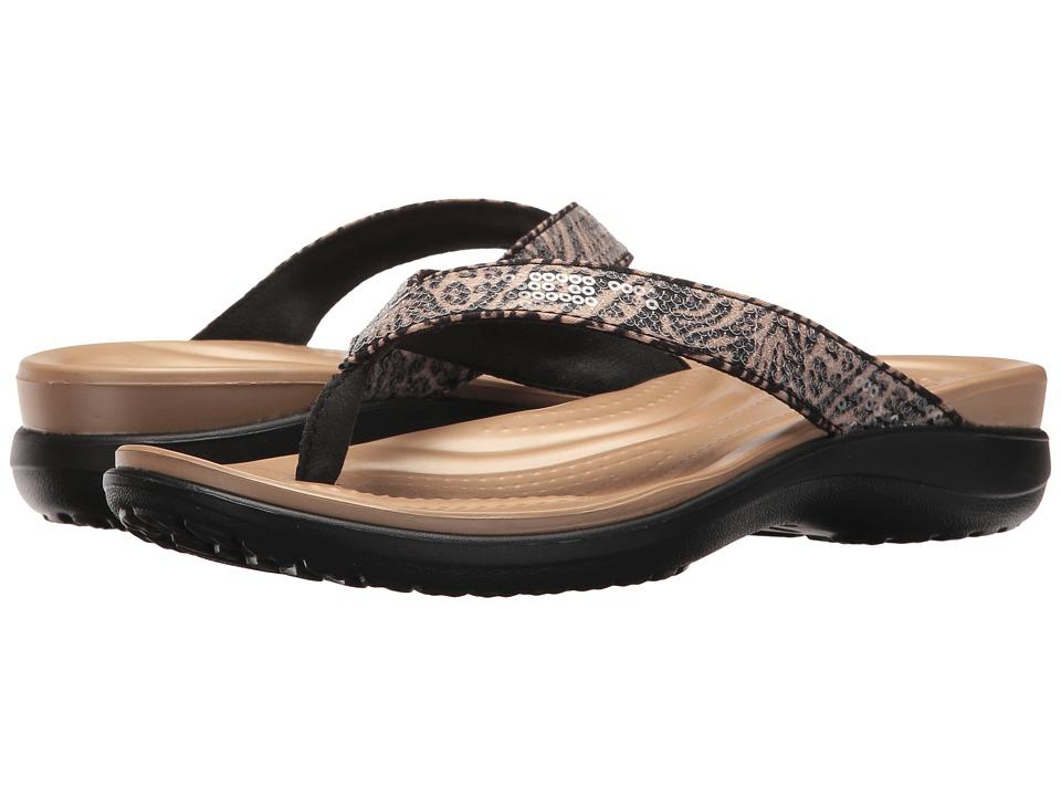 Crocs Capri V Graphic Sequin Flip (Animal) Women