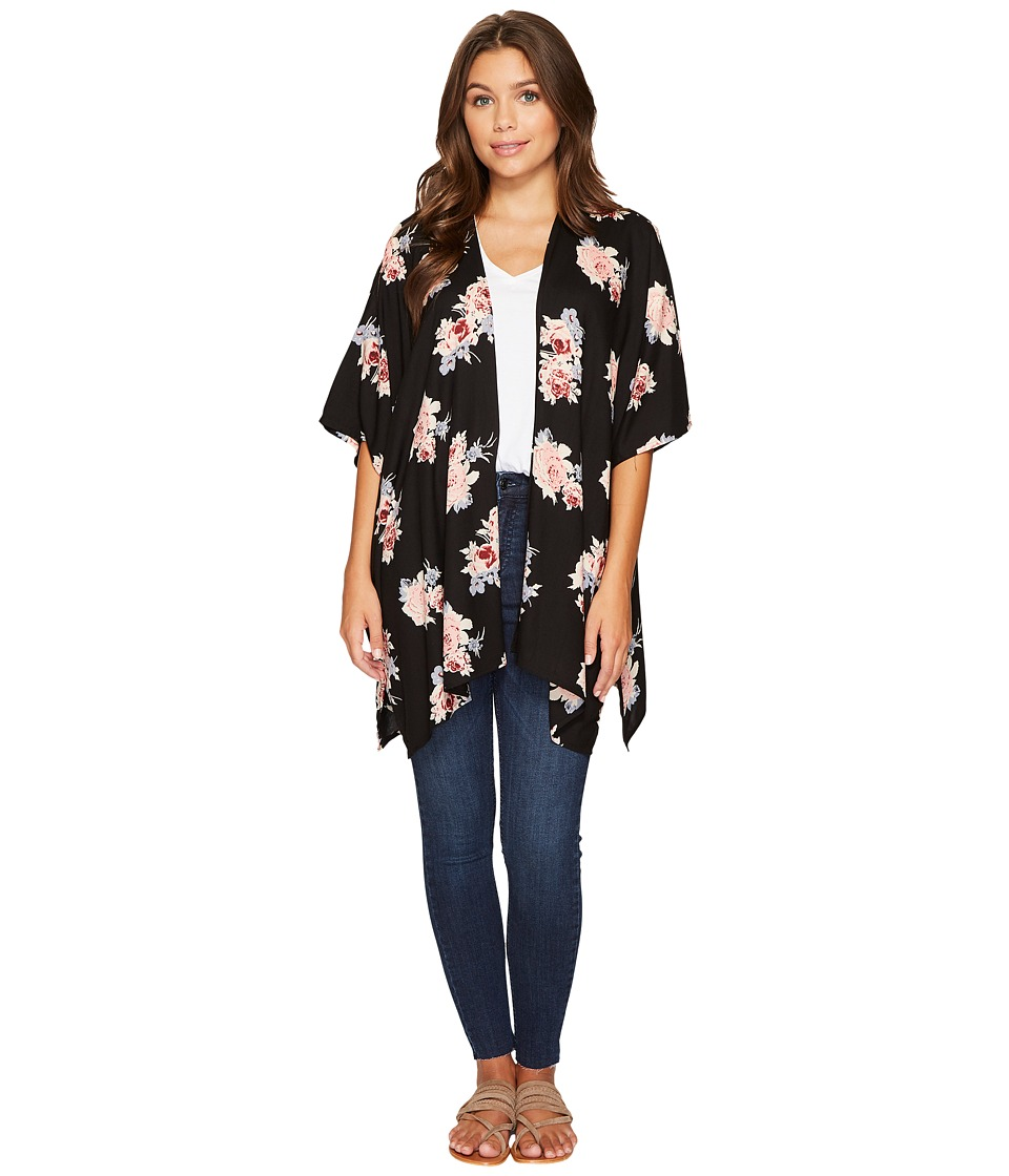 Angie - Open Front Dolman Sleeve Printed Kimono (Black) Women's Clothing