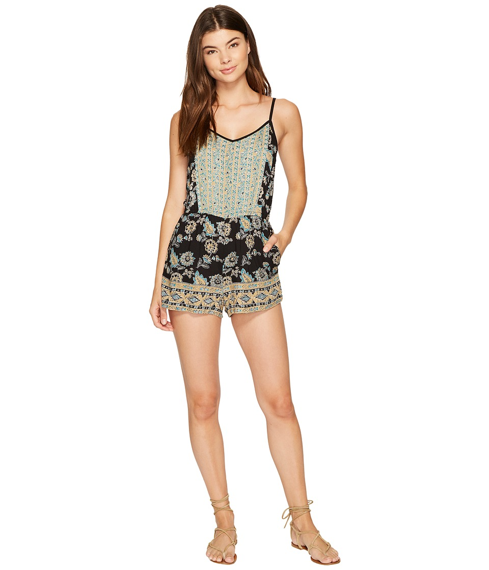 Angie - Strappy Print Romper (Taupe) Women's Jumpsuit & Rompers One Piece