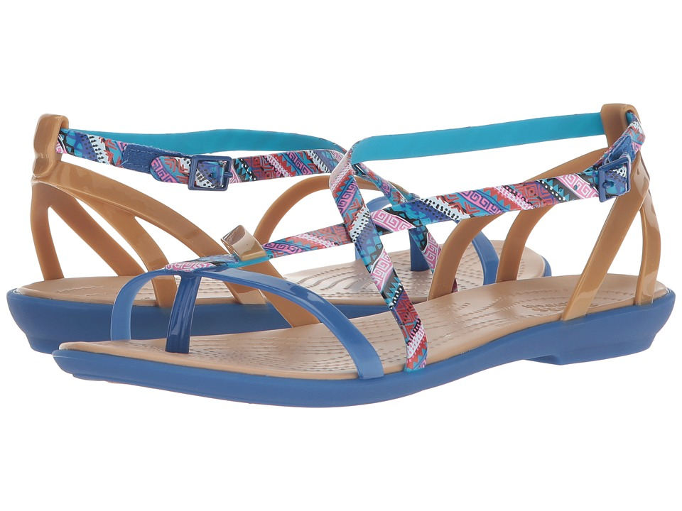Crocs Isabella Gladiator Graphic Sandal (Blue Jean/Gold) Women