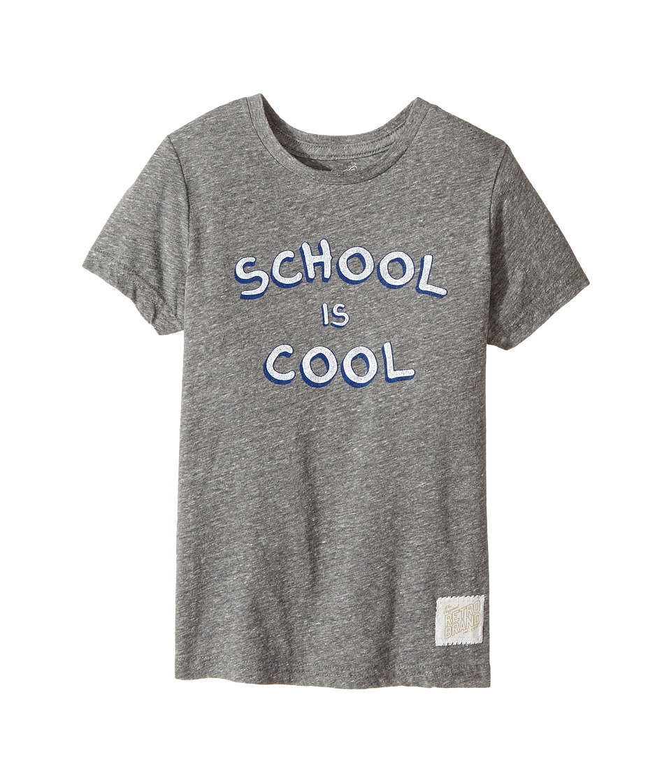 The Original Retro Brand Kids - School Is Cool Tri-Blend Short Sleeve Tee (Little Kids/Big Kids) (Streaky Grey) Boy's T Shirt
