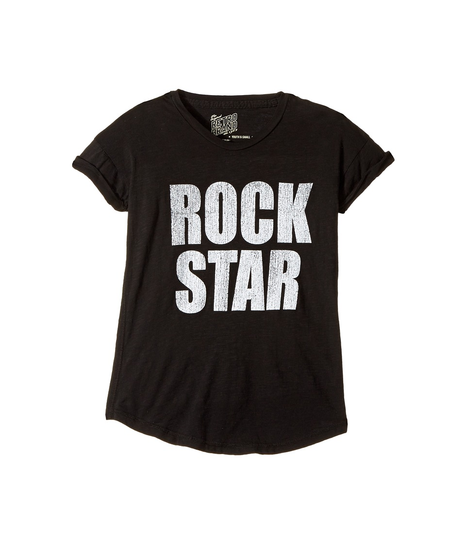The Original Retro Brand Kids - Rock Star Short Sleeve Cotton Slub Rolled Sleeve Tee (Big Kids) (Black) Girl's T Shirt