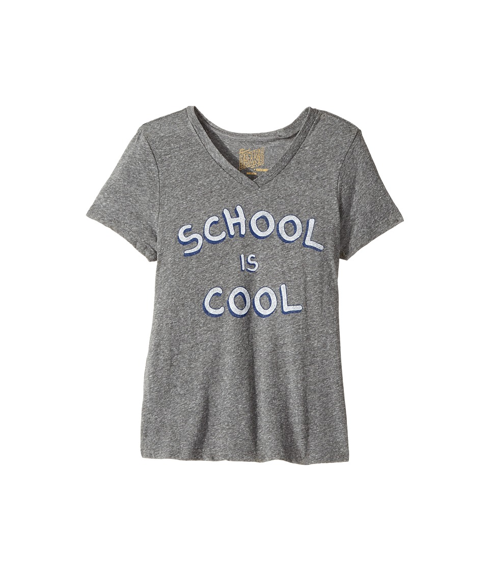 The Original Retro Brand Kids - School Is Cool Short Sleeve Tri-Blend V-Neck Tee (Big Kids) (Streaky Grey) Girl's T Shirt