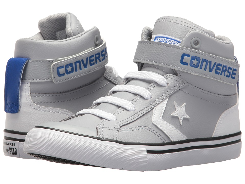 Converse Kids Pro Blaze Strap Hi (Little Kid/Big Kid) (Wolf Grey/White/Hyper Royal) Boys Shoes