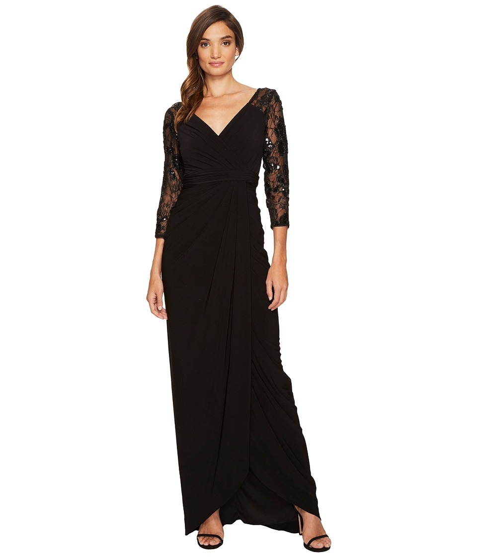Adrianna Papell Long Gown with Beaded Sleeves and V-Neckline (Black) Women