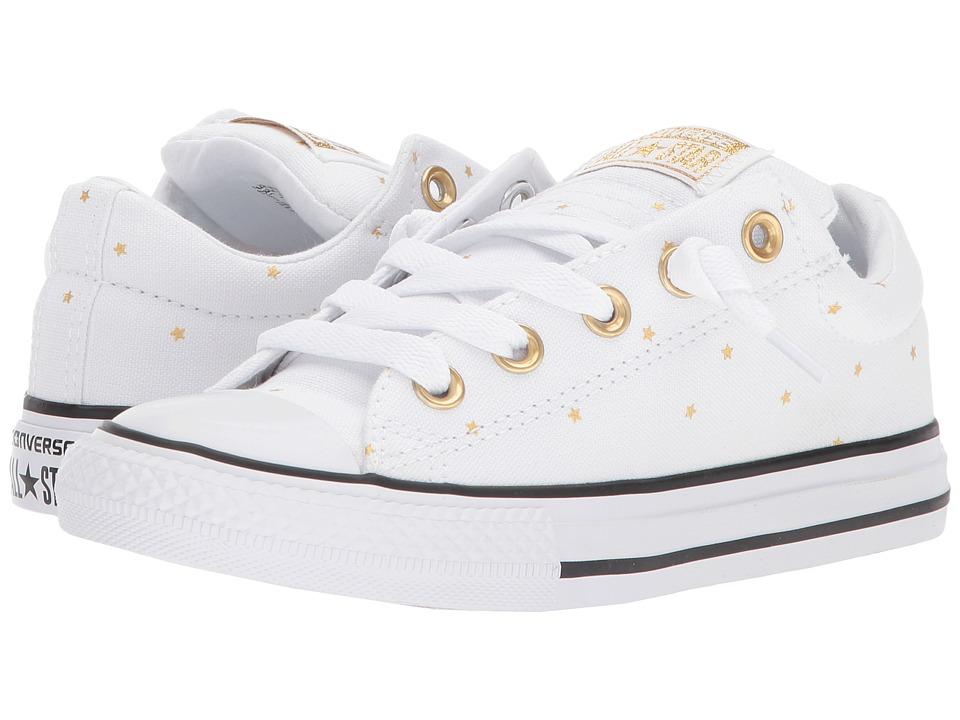 Converse Kids Chuck Taylor All Star Street Ox (Little Kids/Big Kids) (White/Black/Gold) Girls Shoes