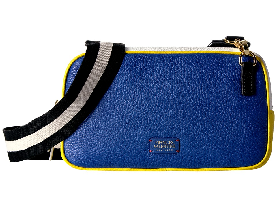 Frances Valentine - Crossbody Tumbled Leather w/ Contrast Handles (Royal/White/Yellow) Cross Body Handbags