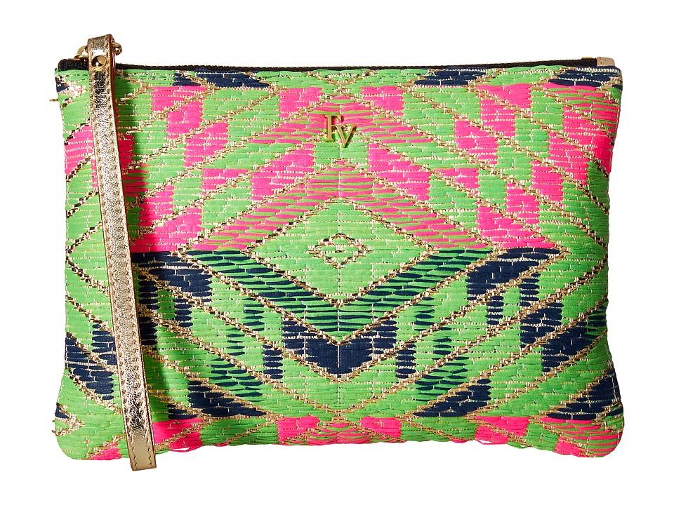 Frances Valentine - Zip Wristlet Metallic Print Jacquard (Green/Pink/Navy/Multi) Wristlet Handbags