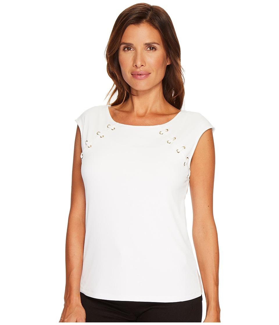 Calvin Klein Sleeveless Top with Lacing (Soft White) Women
