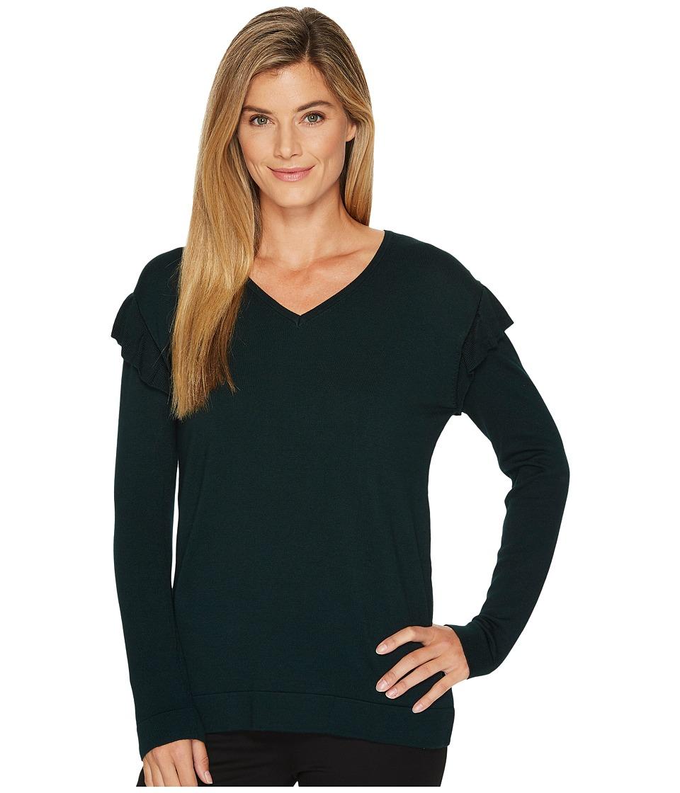 Calvin Klein V-Neck with Ruffle Sleeve (Malachite) Women