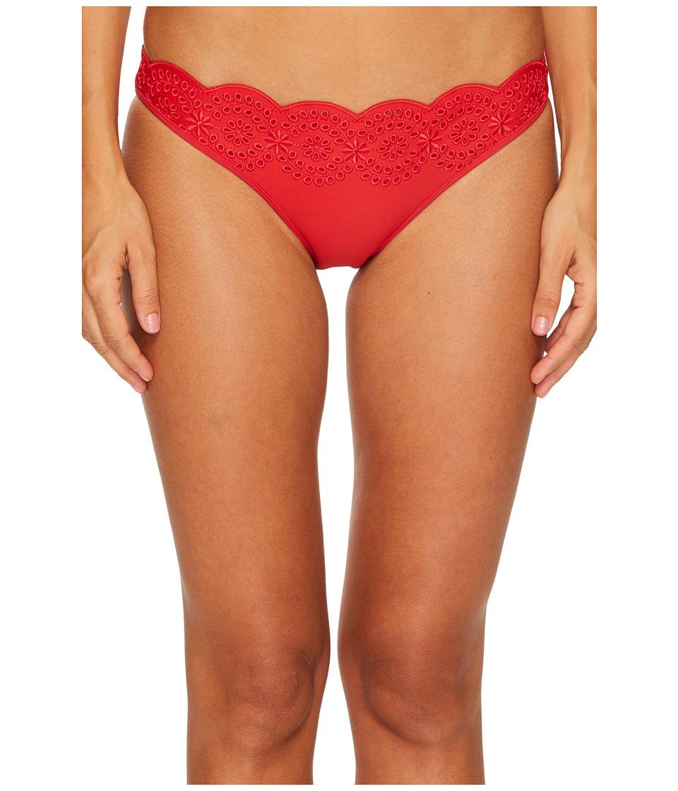 Stella McCartney Broderie Anglaise Classic Bikini Bottom (Tango Red) Women