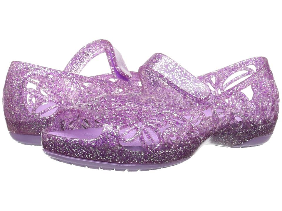 Crocs Kids Isabella Glitter Jelly Flat PS (Toddler/Little Kid) (Neon Purple) Girls Shoes