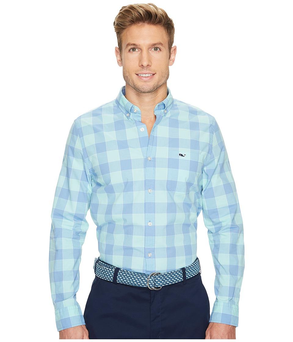 Vineyard Vines Hideaway Check Slim Tucker Shirt (Dockside Blue) Men